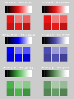 Color Pattern; Small Blocks on Bottom;  Non-Dithered Gradient; Mode Color