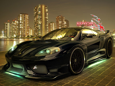 black-ferrari-wallpapers-on-city
