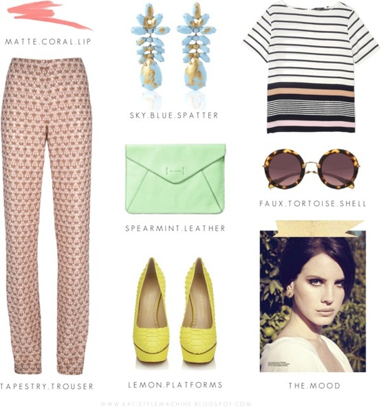 Pair a classic striped top with patterned trousers for Eclectic Work-ready Style