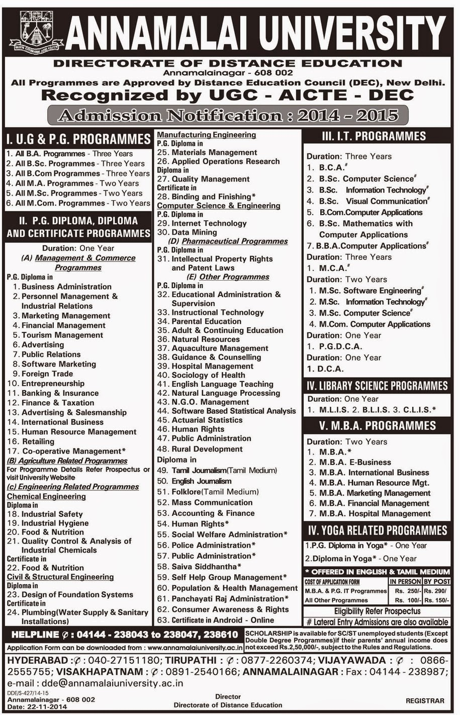Annamalai University Directorate Of Distance Education Autos Post