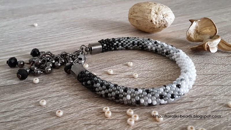 bransoletka sznur szydełkowo - koralikowy - przenikanie Toho