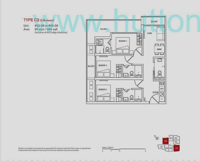 8 Farrer Suites 3 Bedrooms Floor Plan