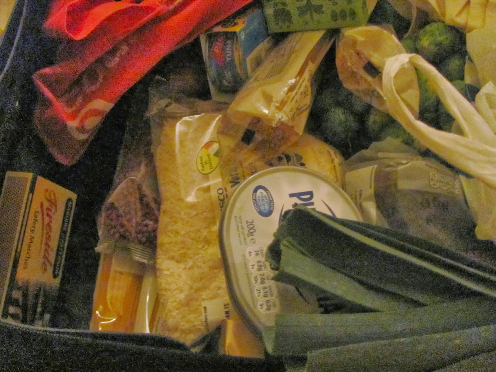 Groceries in the black suitcase seen close up