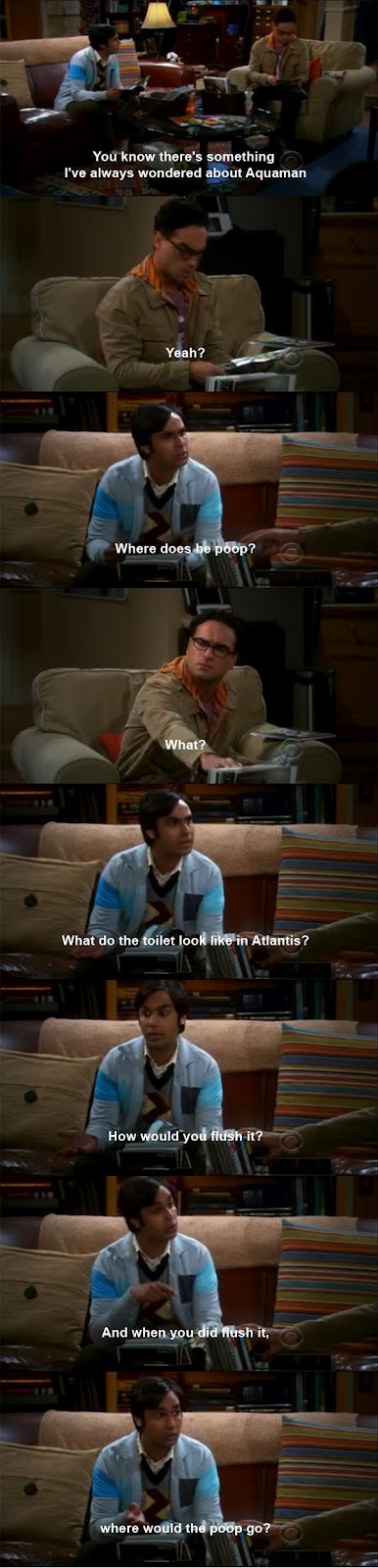 The Funny Question About Aquaman By Raj In Big Bang Theory
