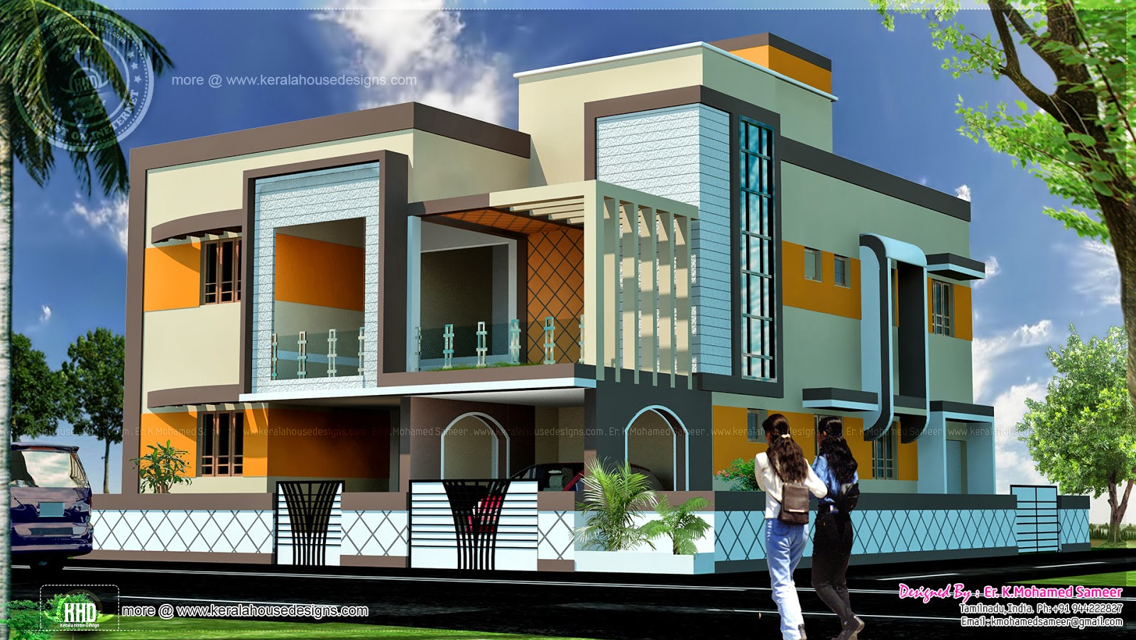 4 Bedroom Tamilnadu Style House Exterior Home Kerala Plans