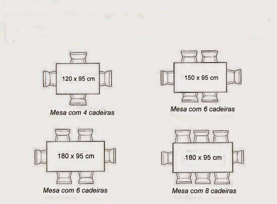 Medidas de mesas de jantar redondas ovais e for Mesa 8 personas medidas
