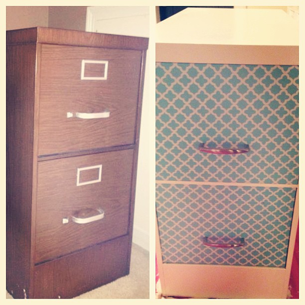 diy file cabinet makeover contact paper 2