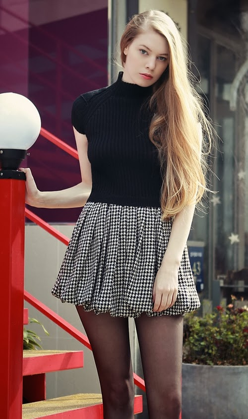 Houndtooth Balloon Dress