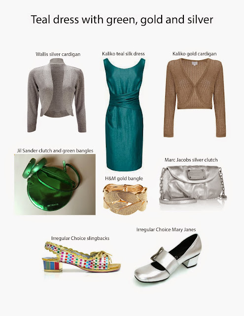 Kaffesoester's teal Kaliko dress with accessory ideas