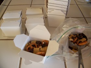 snack mix in to-go boxes