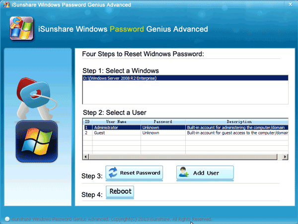 reset windows server 2008 r2 default administrator password