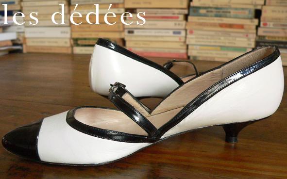 Les dedees vintage recup creations les escarpins noir et blanc esprit fifty by ben - Chaussures annees 50 femme ...