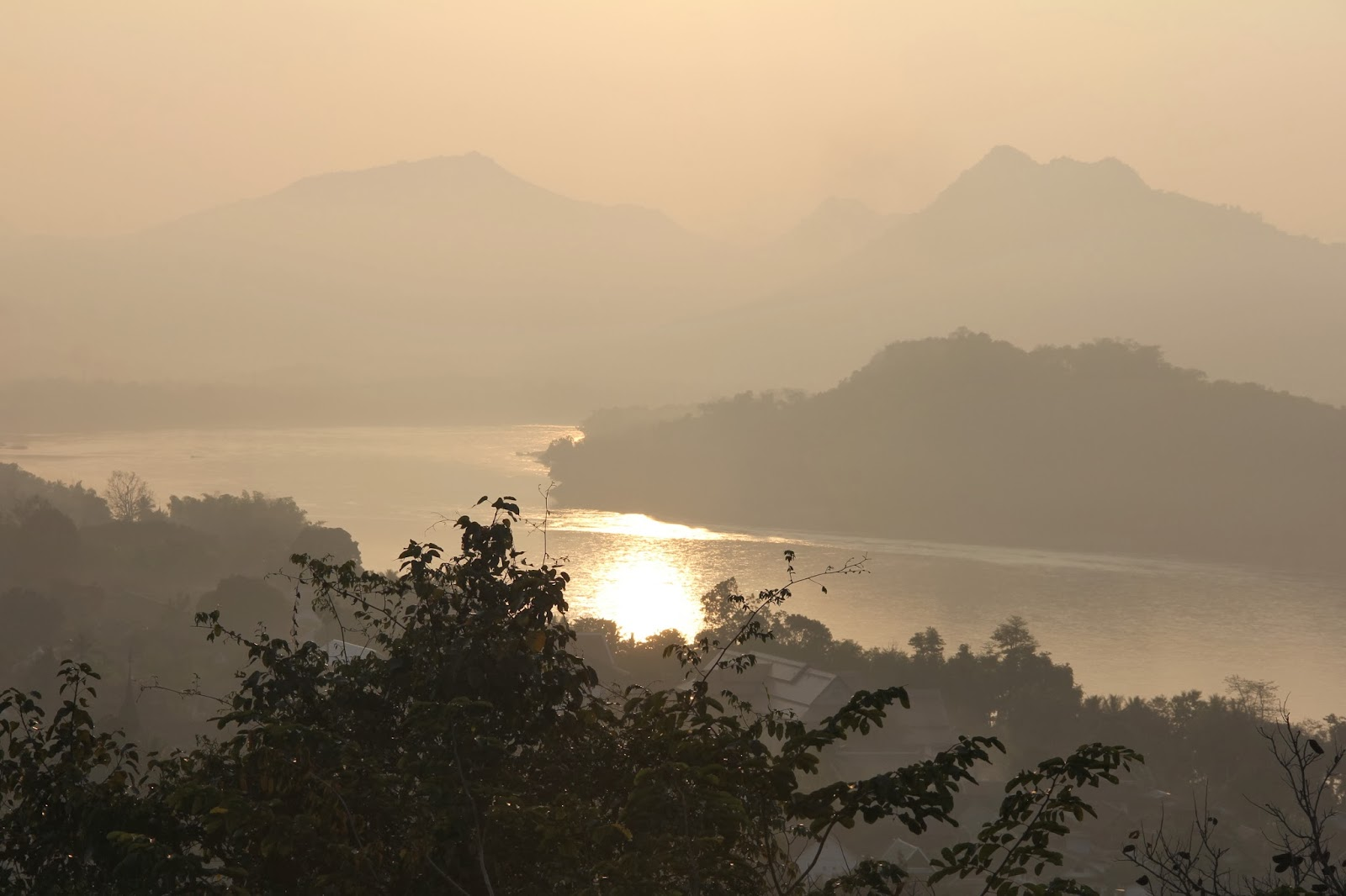 Spectacular Sunset over the Mekong River from Phousi Hill in Luang Prabang.