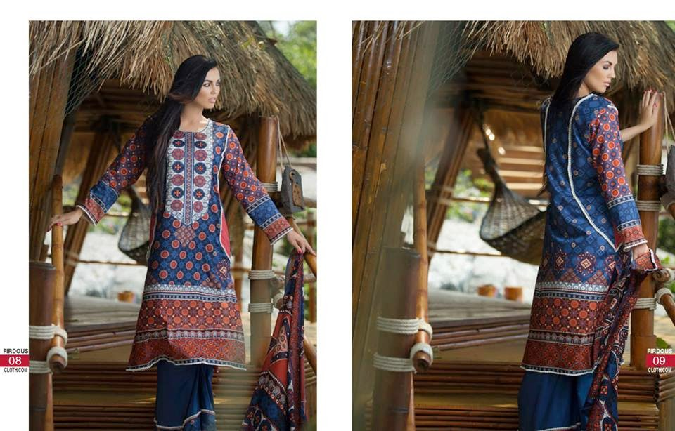 Firdous lawn collection 2015 for women