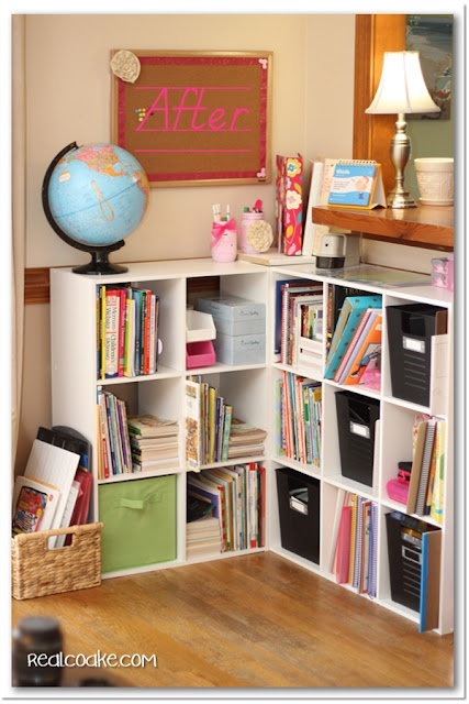 Homeschool organization ideas for organizing all the books and supplies in shelves in the living room. #Organizing #Homeschool #RealCoake
