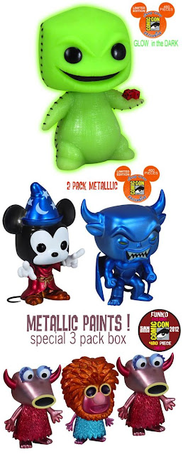San Diego Comic-Con 2012 Exclusive Disney Pop! Vinyl Figures by Funko - Glow in the Dark Oogie Boogie, Fantasia 2 Pack (Metallic Sorcery Mickey & Chernobog) &  The Muppets Metallic 3 Pack (Snowth, Mahna Mahna & Snowth)