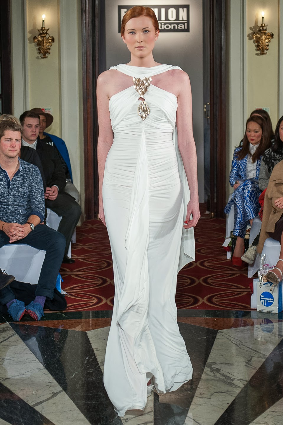 Omar Mansoor LFW A/W '14 - Ivory full length gown