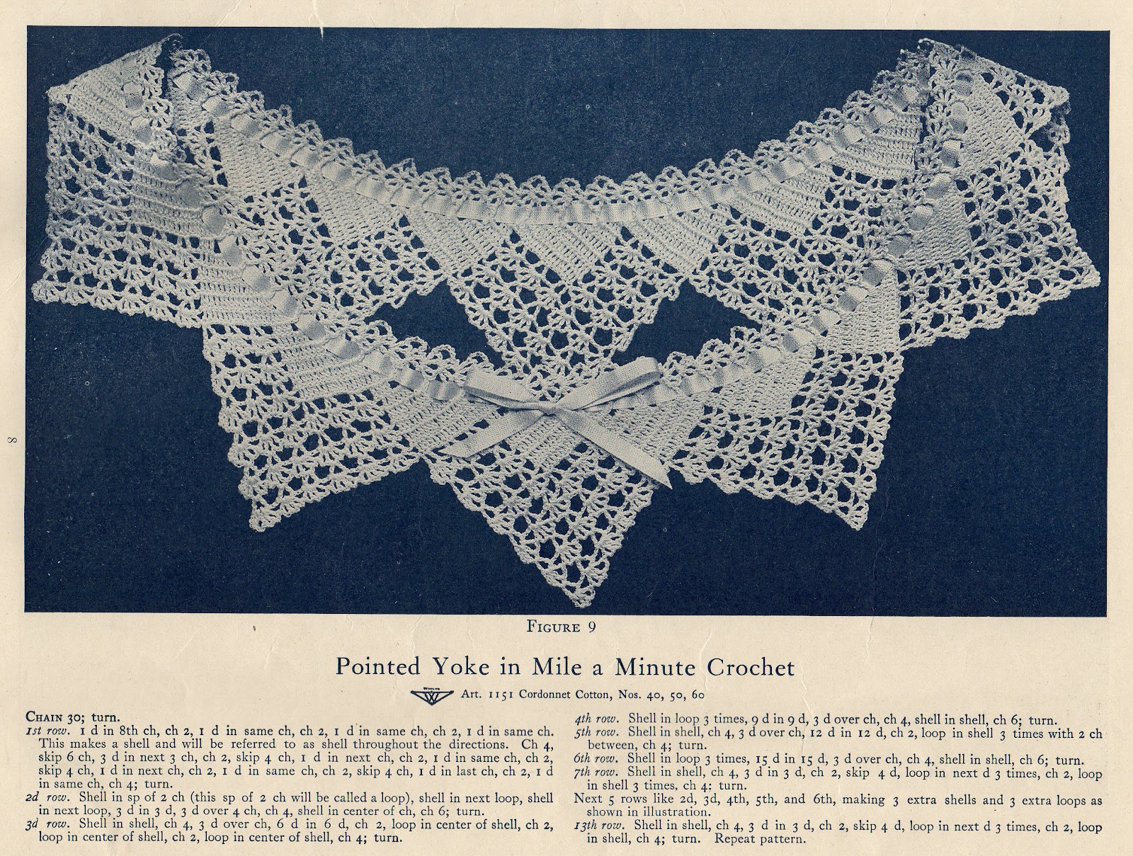 Free Vintage Crochet Yoke Patterns : Leaping Frog Designs: Free Vintage Patterns Pointed Yoke ...