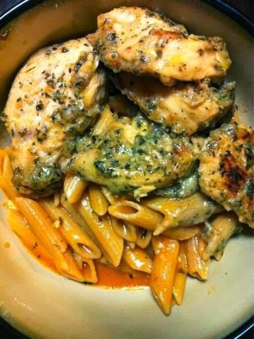 Garlic Pesto Chicken with Tomato Cream Penne Recipe