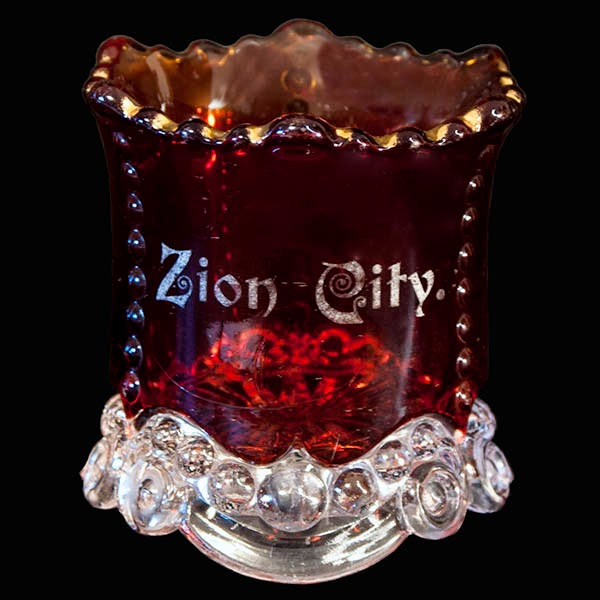 Antique EAPG Ruby Stained Bead and Scroll Toothpick Holder, US Glass