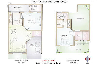 Tillupurian: 3-Marla Delux Housing Plan from Pakistani Builders
