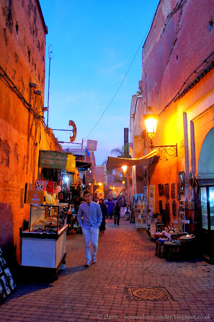 Medina of Marrakech - walking through the narrow streets at sunset