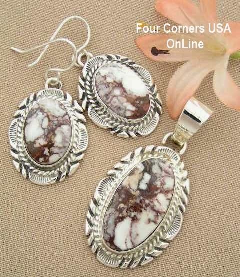 Large Wild Horse Magnesite Pendant Earring Jewelry Set