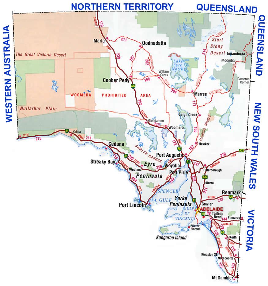 South Australia Region Map Map of Australia Region Political