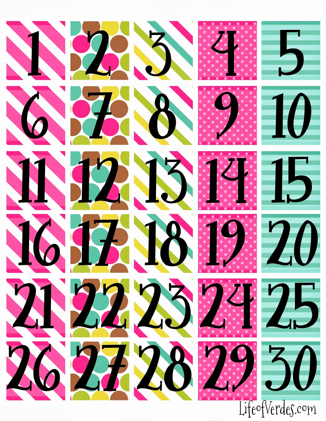calendar numbers and the last day plus blanks this is the calendar we ...