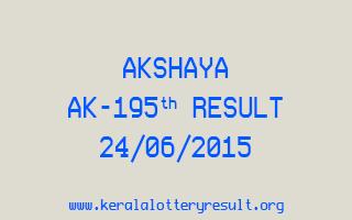 Akshaya AK 195 Lottery Result 24-6-2015