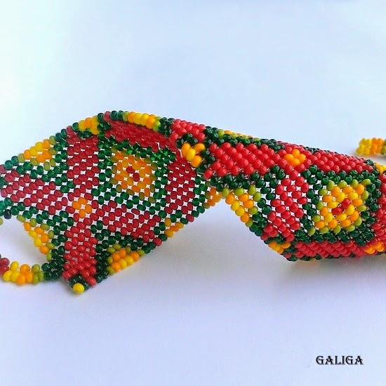 ethnic style beaded jewelry — colorful seed bead bracelet pattern cuff-wide bracelet