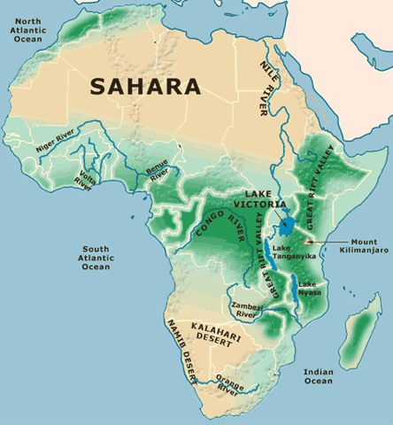 Map of Africa Physical