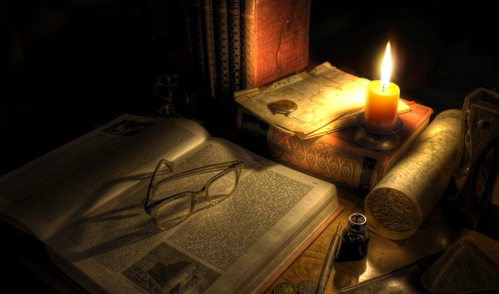 lore books and candles