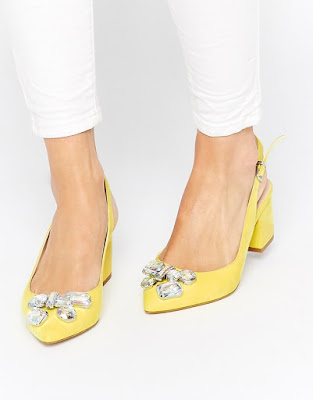 asos yellow low block embellished sling back heels