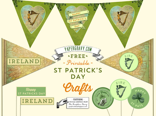 Vintage Printables St. Patrick's Day Flags Buntings Stickers