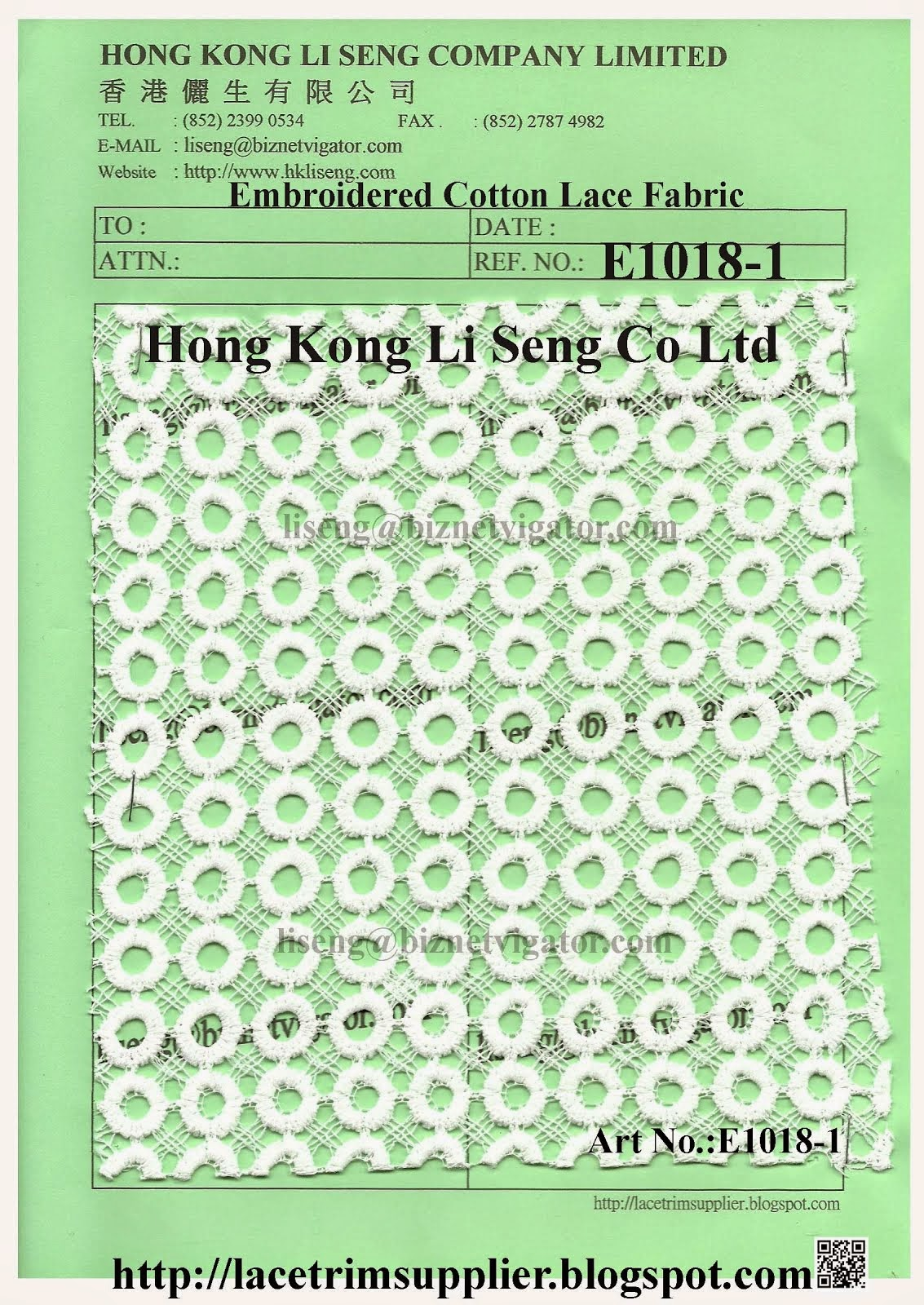 New Embroidered Cotton Lace FabricPattern Manufacturer Wholesale Supplier-Hong Kong Li Seng Co Ltd