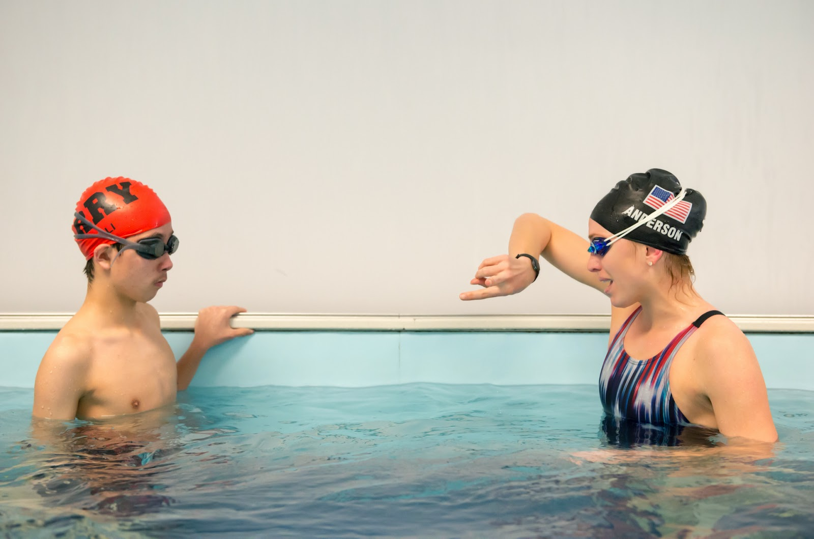 Olympian Alyssa Anderson gives pointers to 13-year-old Andrew Li