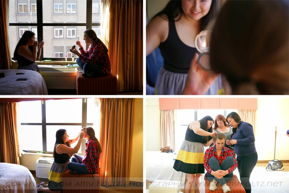 photo of a bride and her friends preparing for her wedding in a hotel room