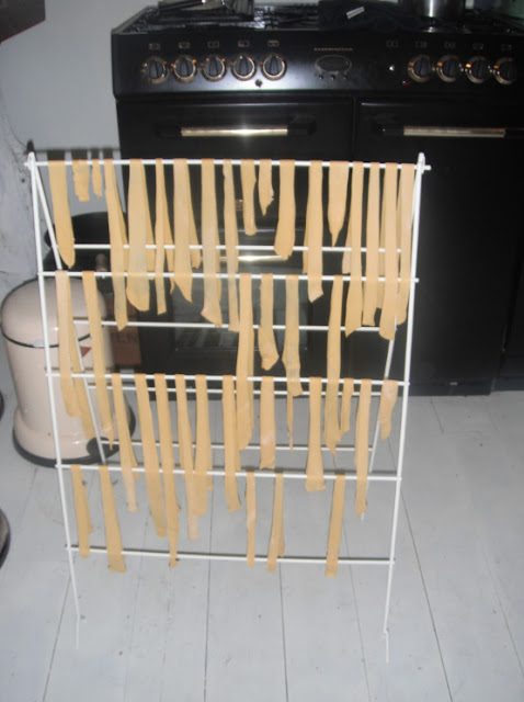 homemade egg pasta drying