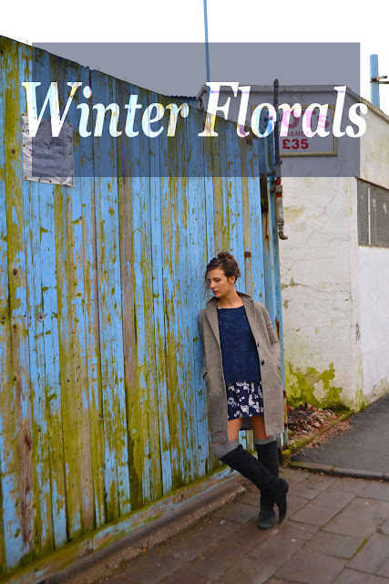 winter dress floral; over the knee boots