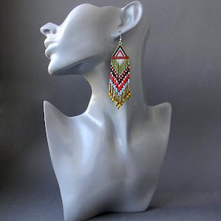 купить серьги из бисера Украина Россия этнические яркие длинные