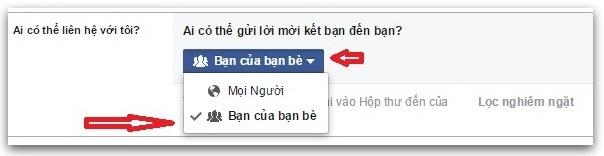 chặn kết bạn facebook