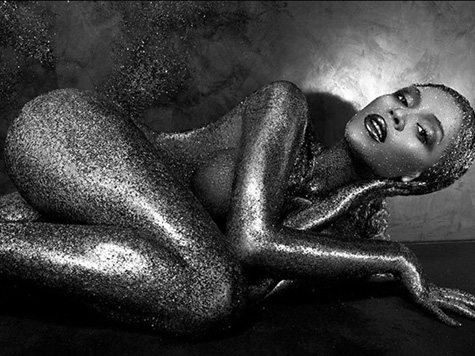 beyonce appears naked and covered with glitter