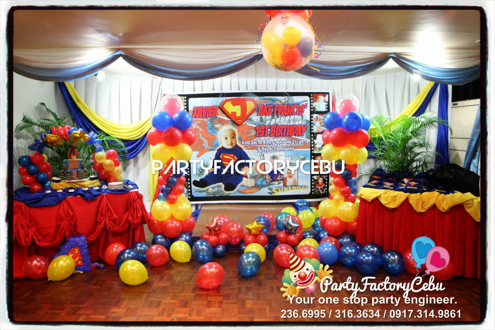 Welcome to partyfactory cebu jake francis 1st superman for Balloon decoration ideas for 1st birthday