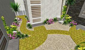 jardin playa del carmen diseño patio sendero adoquin amarillo