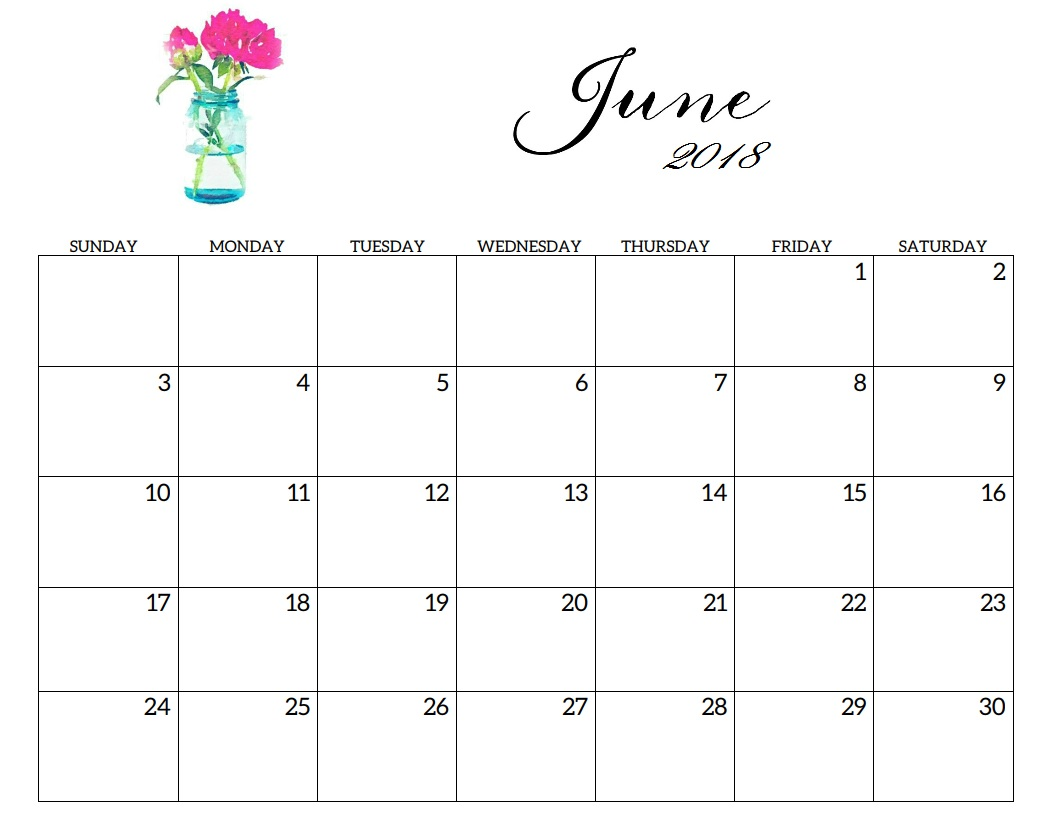Free June 2018 Calendar Printable Download Now