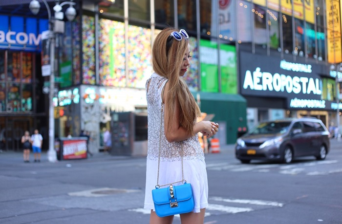 shein white lace dress, blue mirror sunglasses, valentino lock bag, steve madden sandals, gorjana earrings, street style, nyc, time squre, fashion blog