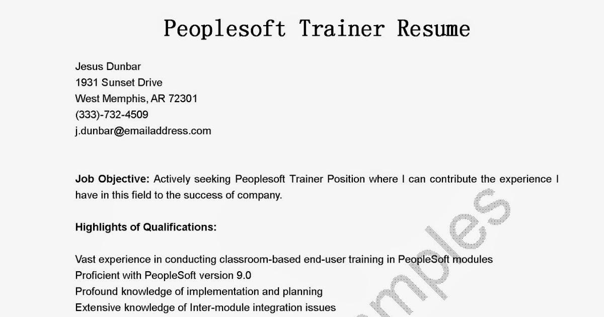resume samples  peoplesoft trainer resume sample