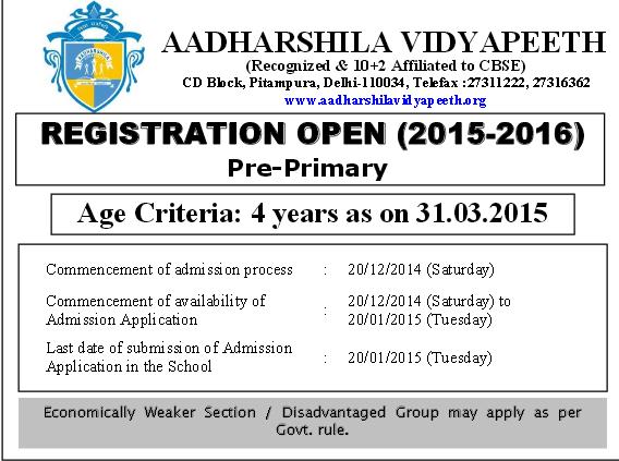 Aadharshila Vidyapeeth Pitampura Nursery Admission 2015-16 New Delhi