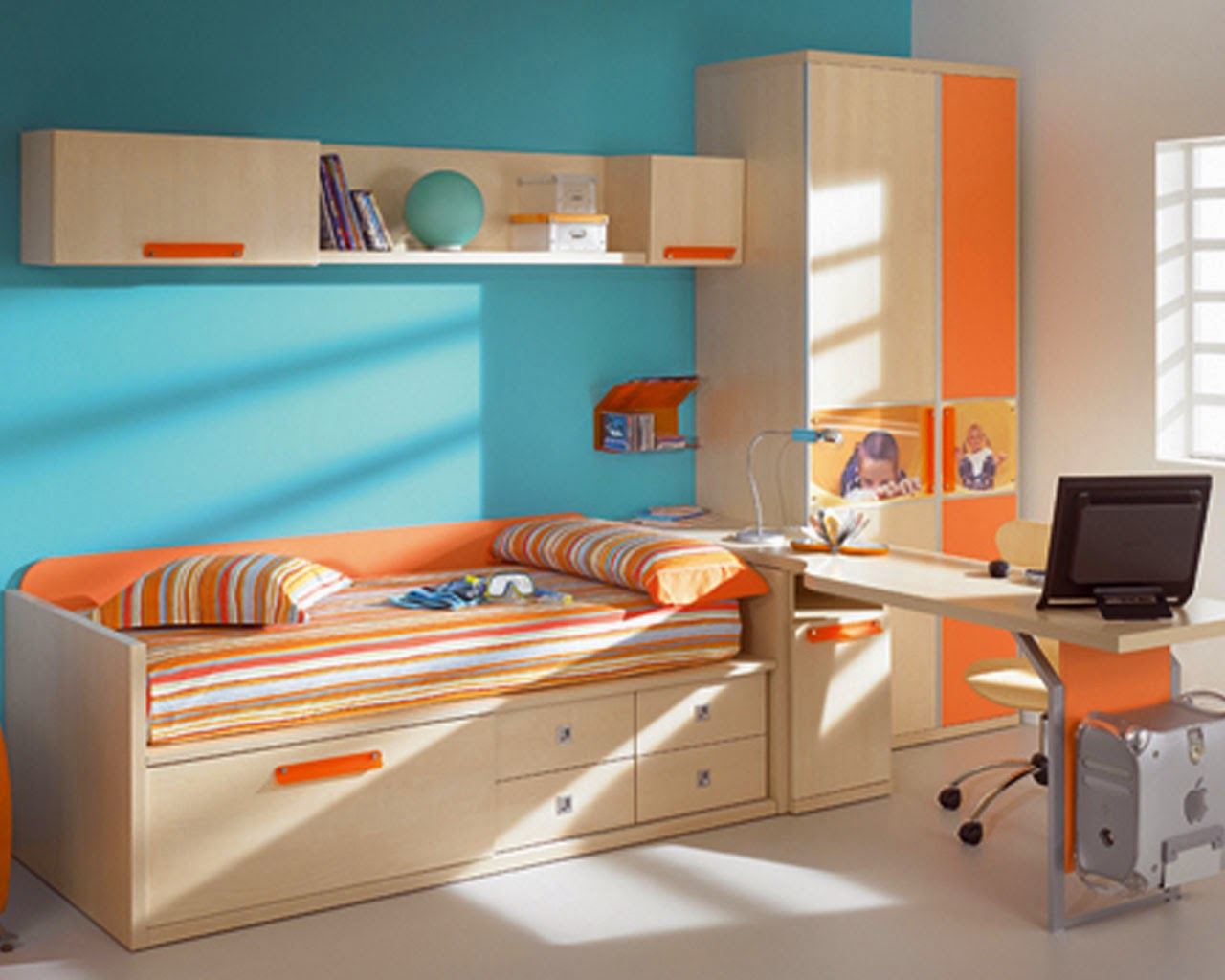 Wonderful Kids Room Design For Good Study Space Bed In Bright Brown Wood |  Orange Striped Bed Cover | Stylish Wall Mount Bookshelf On The Blue Wall